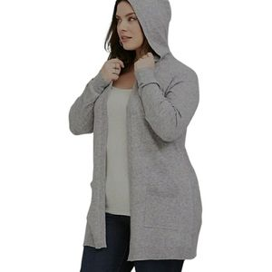 TORRID Grey Hooded Cardigan Pockets Open Front Gray Rayon Hoody size 3X